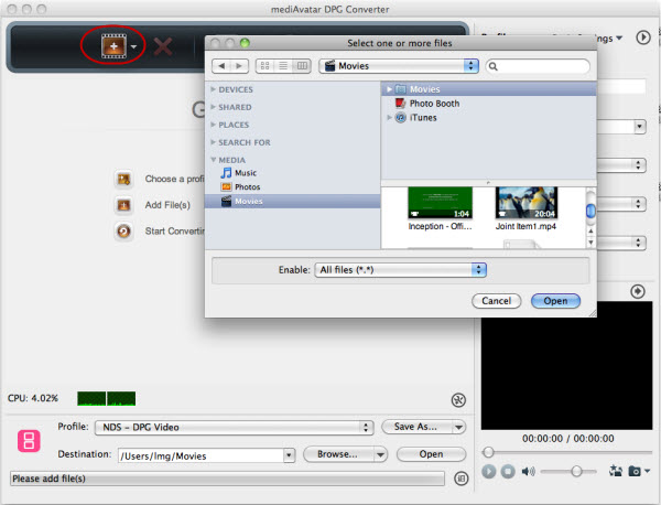Convert videos to DPG Mac