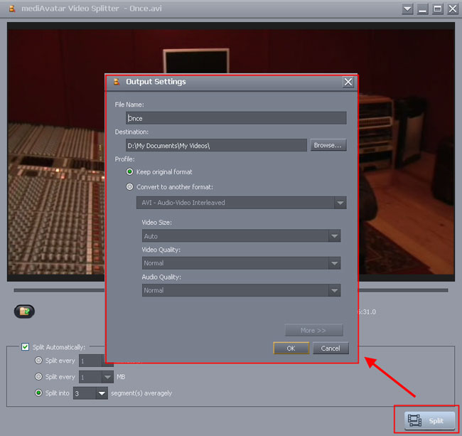 how to split video file